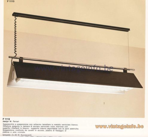 Candle 1970s Fluorescence Lighting Catalogue - F 1113 Pendant Lamp