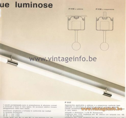 Candle 1970s Fluorescence Lighting Catalogue - Beam for continuous bright rows - Trave per file continue luminose