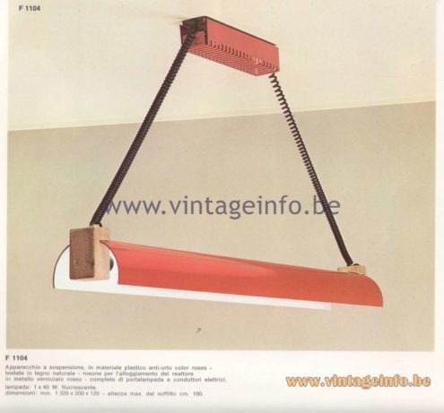 Candle 1970s Fluorescence Lighting Catalogue - F 1104 Pendant Lamp