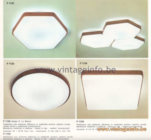Candle 1970s Fluorescence Lighting Catalogue - Candle F 1132,F 1133  F1134 Flush Mounts