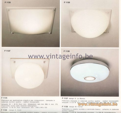 Candle 1970s Fluorescence Lighting Catalogue - Candle F 1135, F 1136, F 1137, F 1138 Flush Mounts