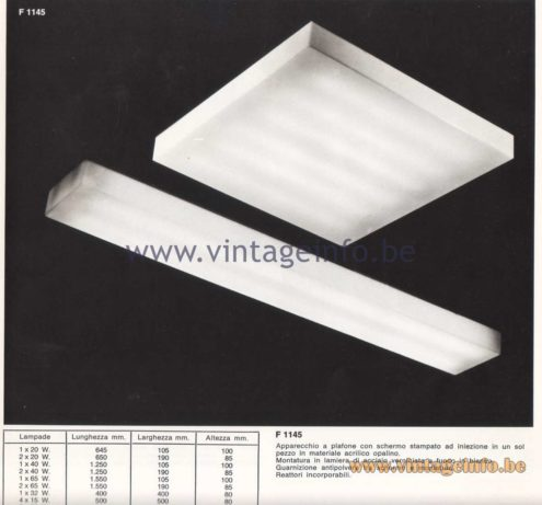 Candle 1970s Fluorescence Lighting Catalogue - Candle F 1145 Flush Mounts