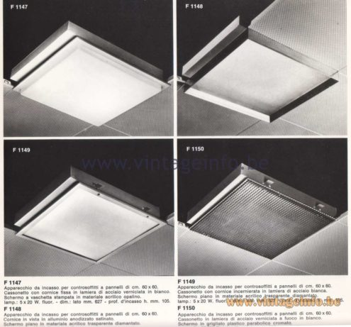 Candle 1970s Fluorescence Lighting Catalogue - Candle F 1147, F 1148, F 1149, F 1150 Flush Mounts