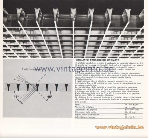 Candle 1970s Fluorescence Lighting Catalogue - Candle Chromed Parabolic Grill