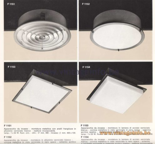 Candle 1970s Fluorescence Lighting Catalogue - F 1151, F 1152, F 1153, F 1154 Flush Mounts