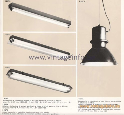 Candle 1970s Fluorescence Lighting Catalogue - Candle I 2070, I 2071, I 2072, I 2073 Flush Mounts