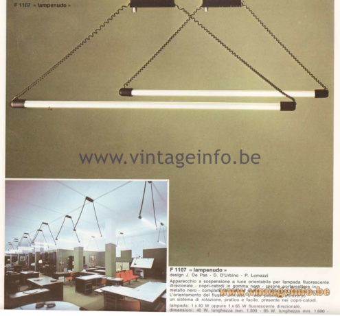 "Candle 1970s Fluorescence Lighting Catalogue - F1107 - ""Lampenudo"" Pendant Lamp"