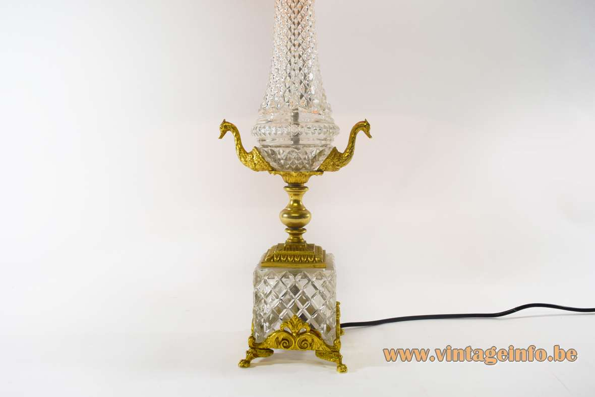 Cut Crystal ormolu swan table lamp brass cut crystal glass neoclassical Hollywood Regency 1970s S.A. Boulanger Liege Belgium