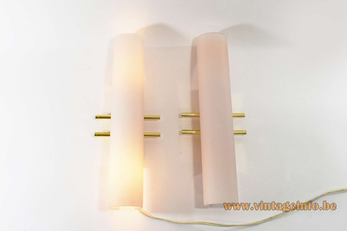 Evaluz Arriba wall lamps 2 pink salmon glass tubes gilded brass parts 1990s 2 E14 light bulbs Spain