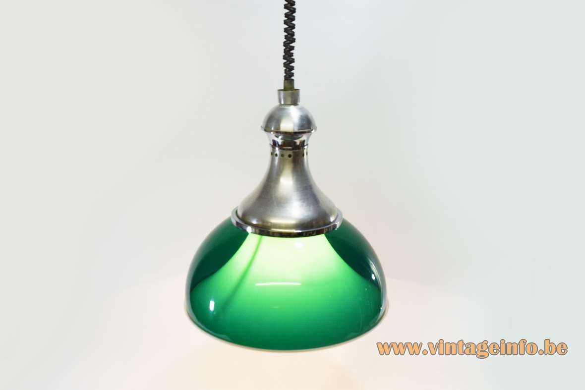 Green acrylic rise & fall pendant lamp chrome handle concave top white plastic diffuser 1960s 1970s Stilux