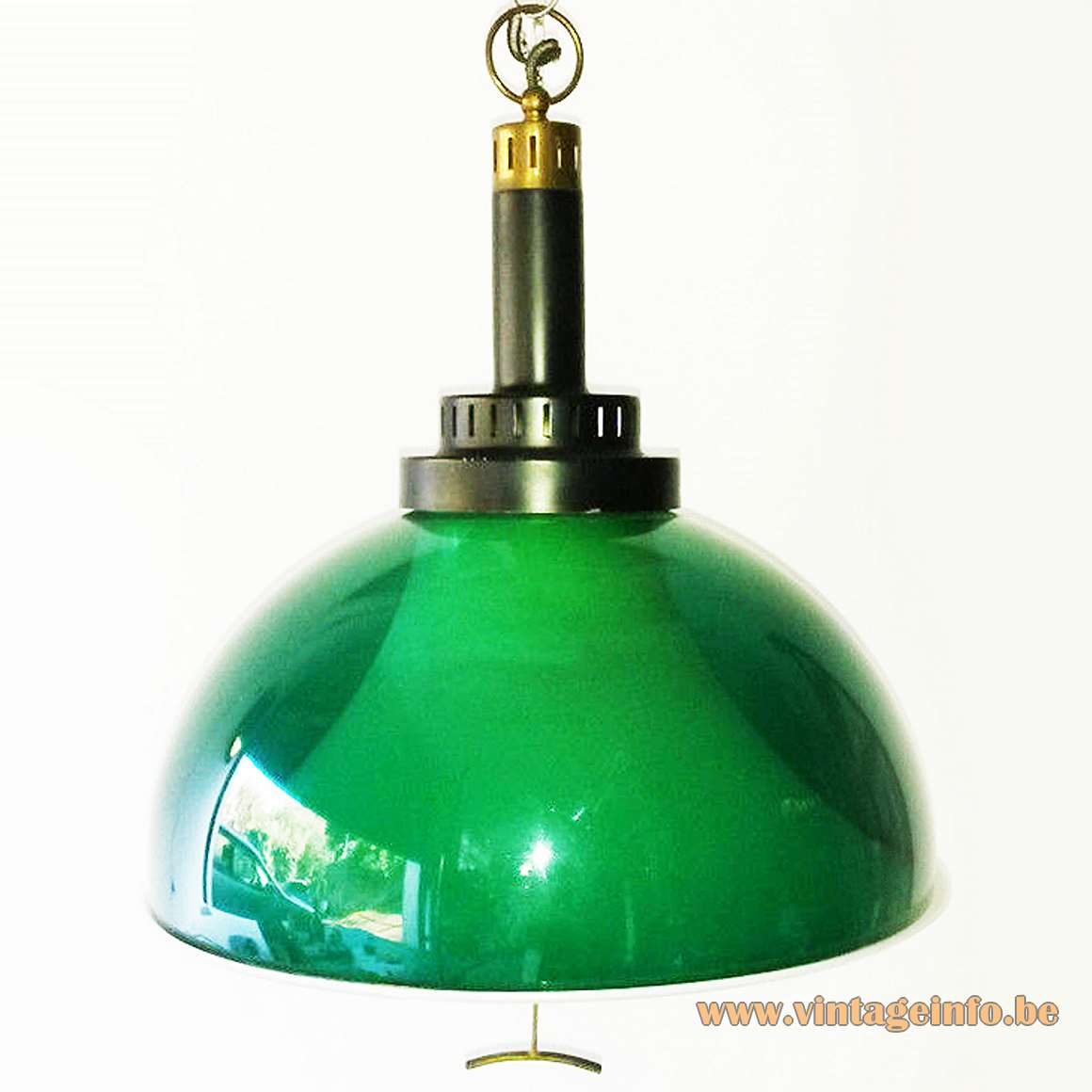 Green clear acrylic rise & fall pendant lamp chrome handle Stilux 1960s 1970s Mid-Century Modern MCM white diffuser