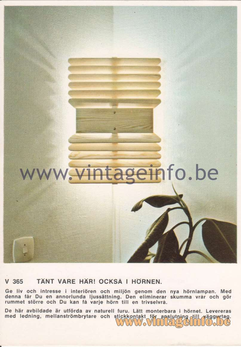 Hans-Agne Jakobsson Corner Brochures - V365 Wall Lamp - Brighten up the corners