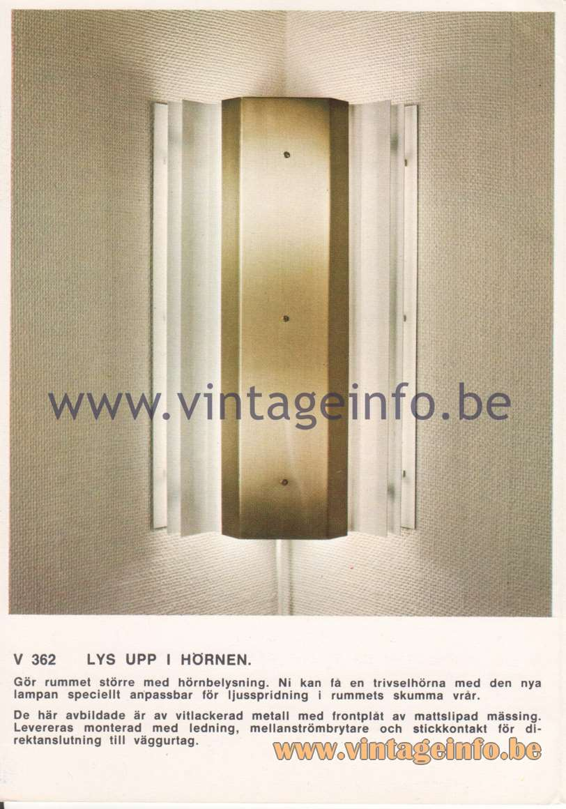 Hans-Agne Jakobsson Corner Brochures - V362 Wall Lamp - Brighten up the corners