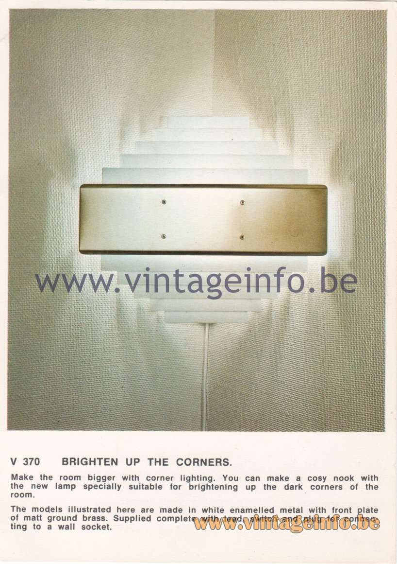 Hans-Agne Jakobsson Corner Brochures - V 370 Wall Lamp - Brighten Up The Corners