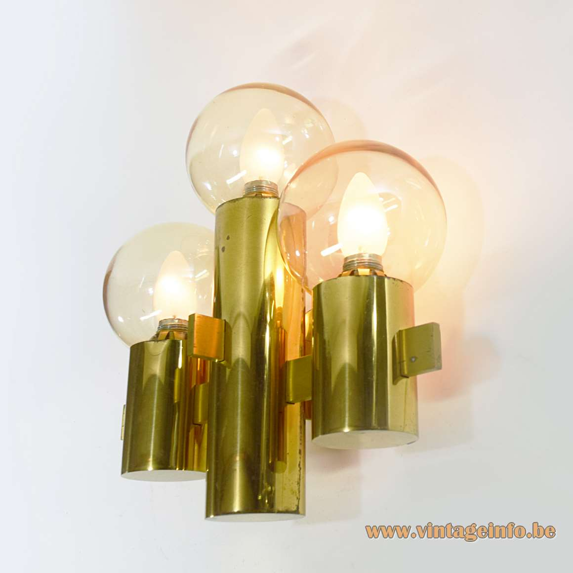 Hans-Agne Jakobsson wall lamp with 3 round brass tubes and 3 glass globes 1970s