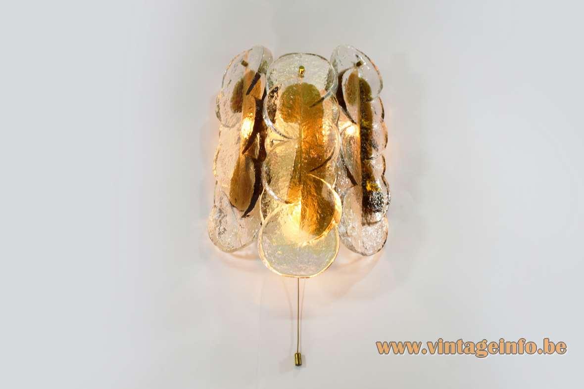 Kalmar Franken Citrus wall lamp clear yellow brown Murano glass lemon slices metal frame 1970s Austria