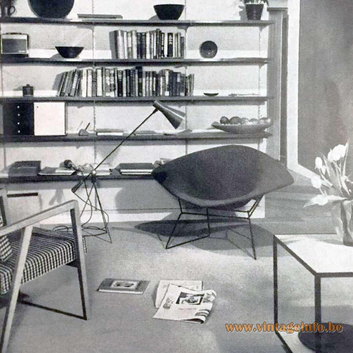 Magneto Floor Lamp 1950 design by Gilbert Allen 'Gil' Watrousproduced by Heifetz