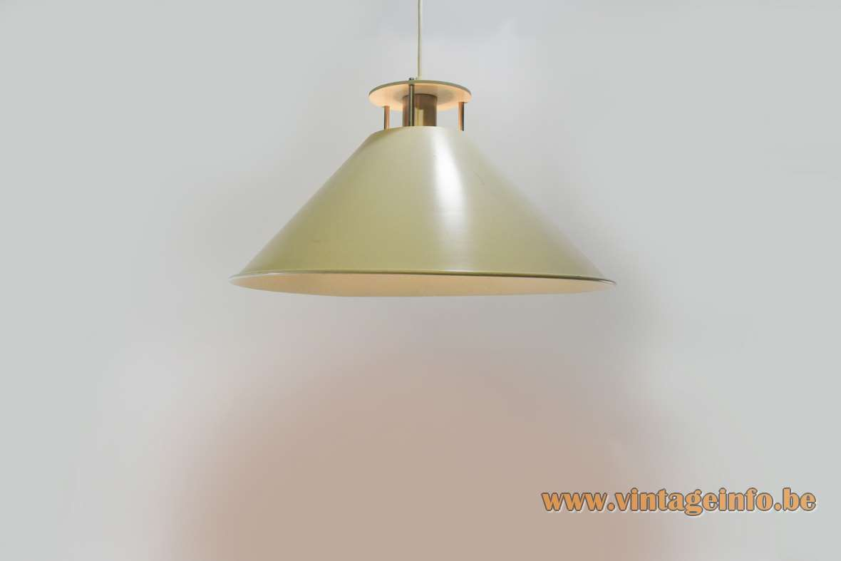 Nordisk Solar C.F. Møller Tegnestue pendant lamp conical metal iron aluminium 1980s E27 lamp socket