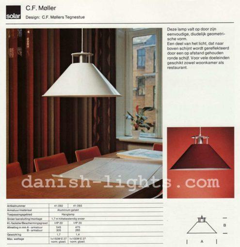 Nordisk Solar C.F. Møller Tegnestue pendant lamp conical metal 1980s E27 lamp socket catalogue picture