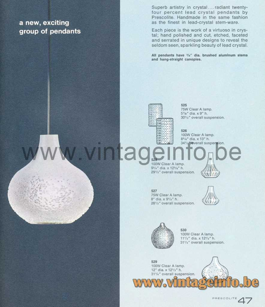 Peill + Putzler Patmos Pendant Lamp - Prescolite 1966 Lighting Catalogue