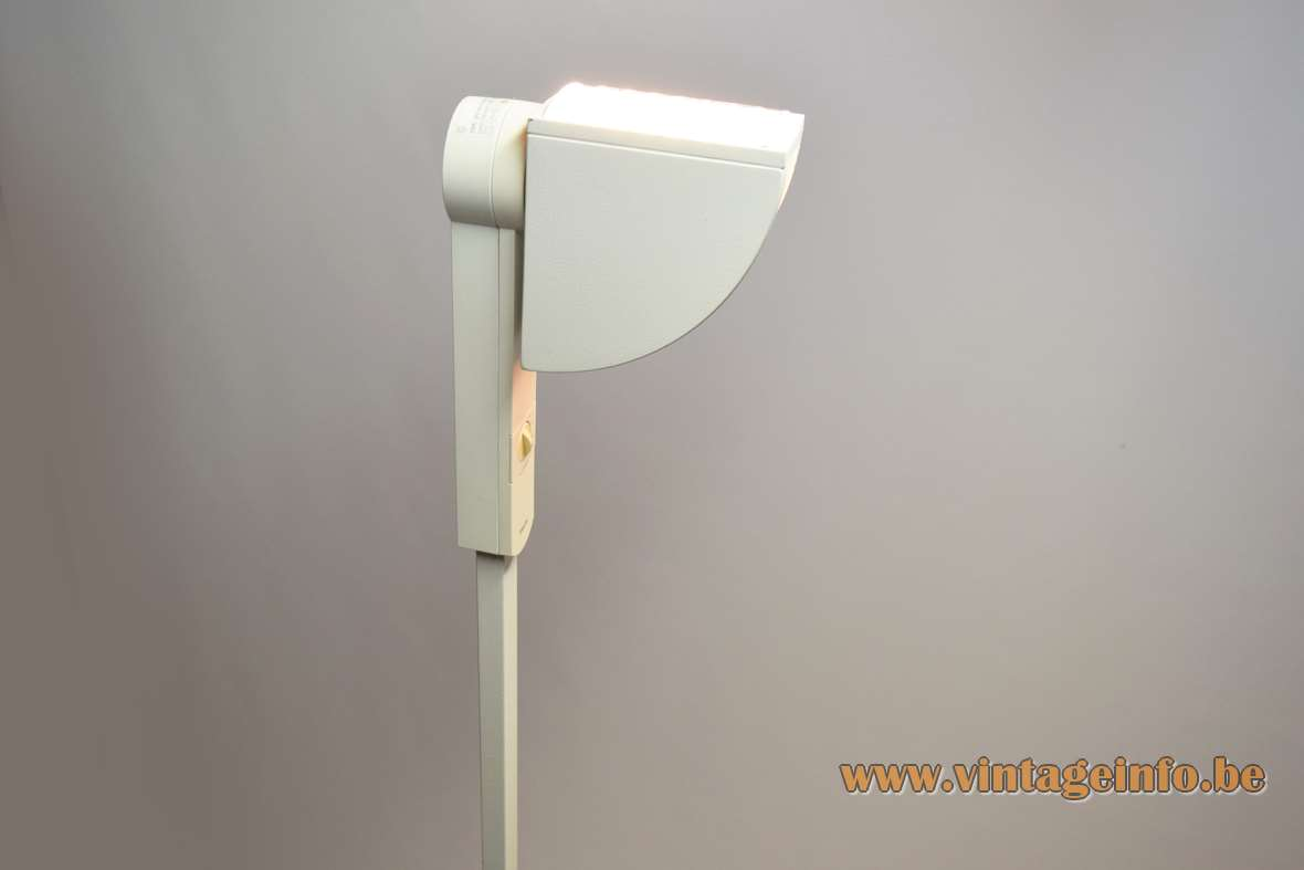 Philips OFG 150 floor lamp round flat base white dyed metal rectangular rod halogen bulb 1980s