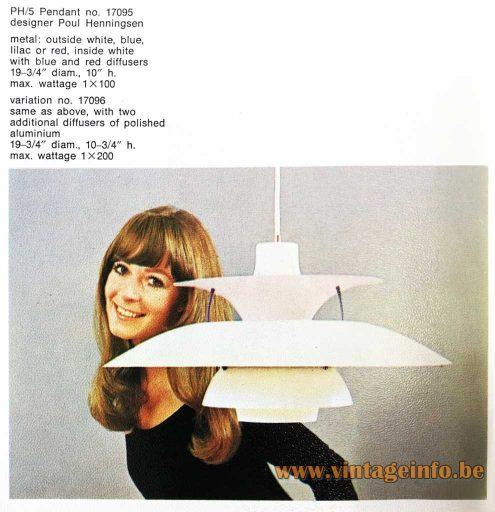 Poul Henningsen PH 5 Pendant Lamp - Louis Poulsen 1960s catalogue
