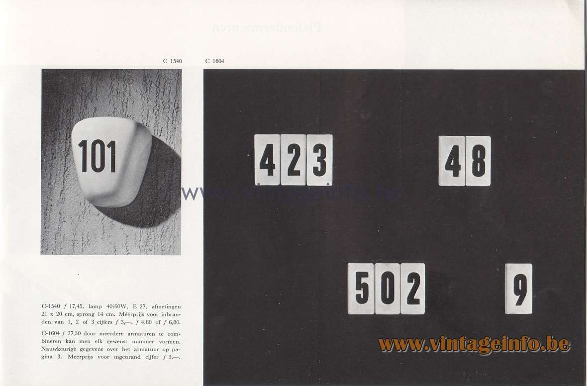 Raak Lichtarchitectuur - additional catalog nr 4. C-1540, C-1604 wall lamps with numbers