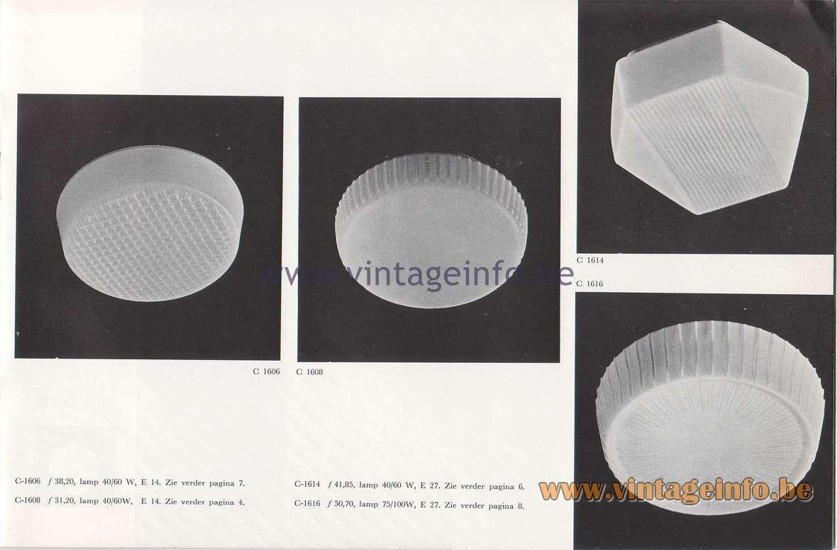 Raak Lichtarchitectuur - additional catalog nr 4 - C-1606, C-1608, C-1614, C-1616 flush mounts - wall lamps