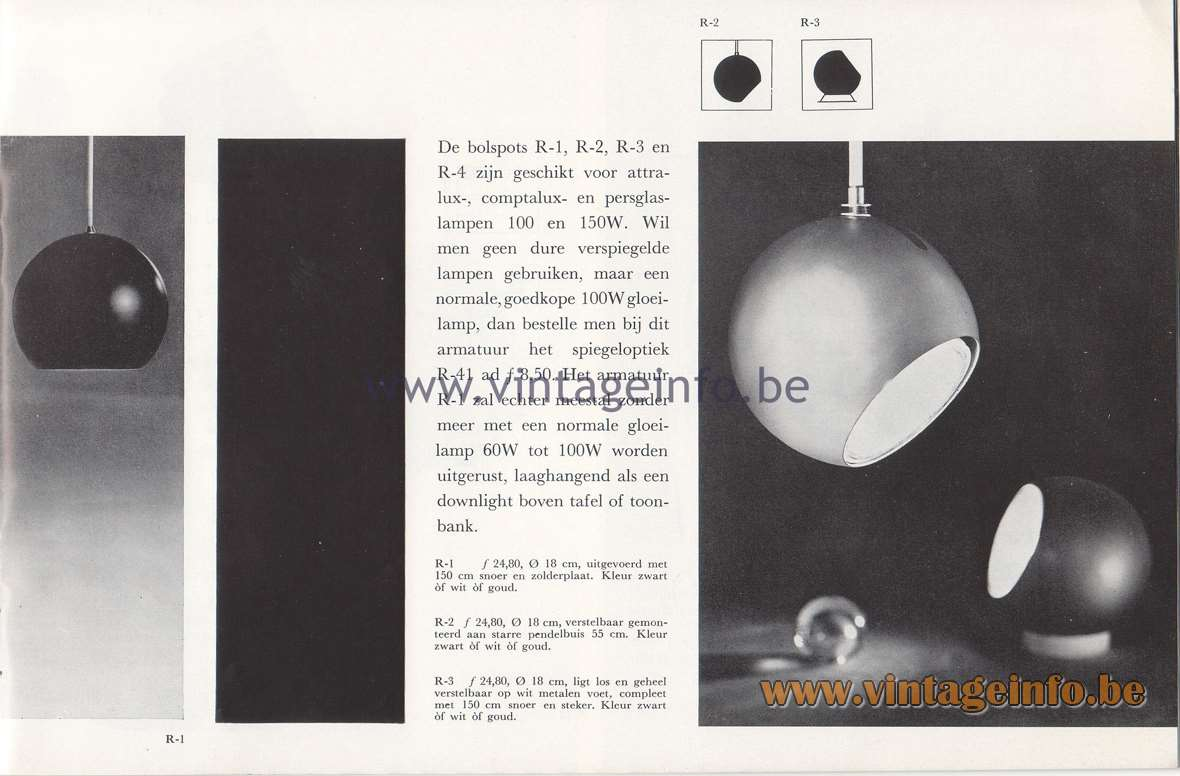 Raak Lichtarchitectuur - additional catalog nr 4 - Bolspots - ball spotlights - R-1, R-2, R-3