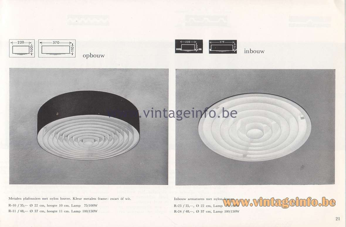 Raak Lichtarchitectuur - additional catalog nr 4 - R-10, R-11, R-23, R-24 (recessed) flush mounts/ceiling lamp