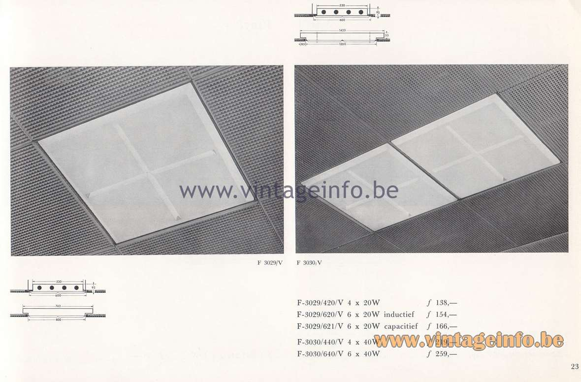 Raak Lichtarchitectuur - additional catalog nr 4 - recessed flush mounts F-3029, F-3030