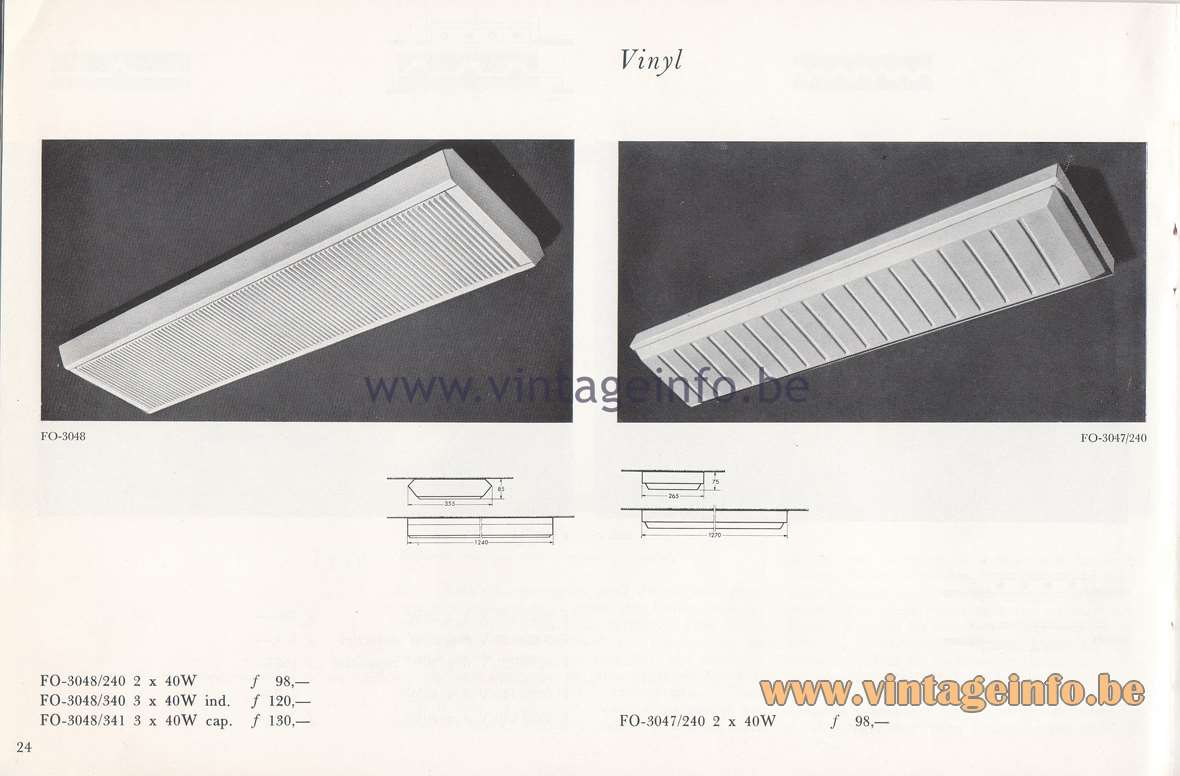 Raak Lichtarchitectuur - additional catalog nr 4 - fluorescent flush mounts FO-3048, FO-3047
