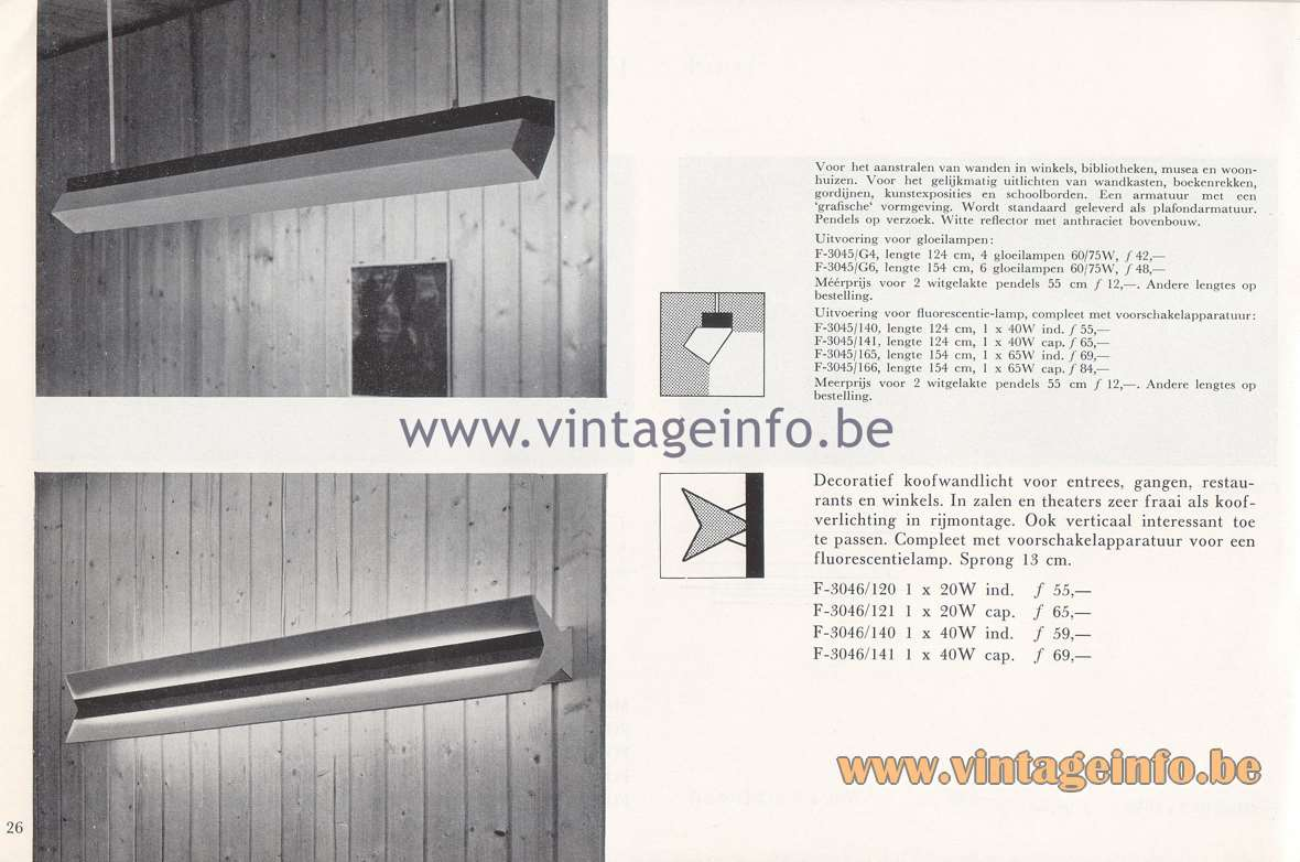 Raak Lichtarchitectuur - additional catalog nr 4 - F-3045, F-3046 fluorescent wall lamps