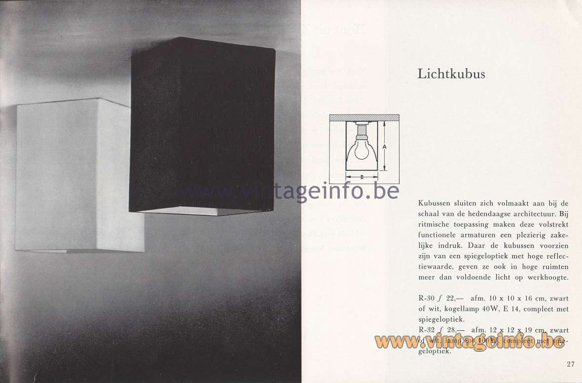 Raak Lichtarchitectuur - additional catalog nr 4 - Lichtkubus R-30, R32 - Light cube