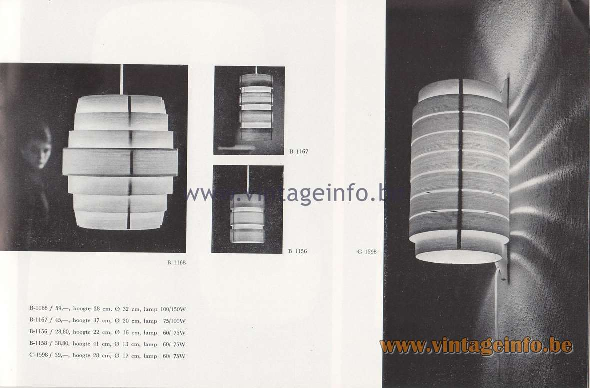 Raak Lichtarchitectuur - additional catalog nr 4 - lamps designed by Hans Agne Jacobson B-1168, B-1167, B-1156, B-1158, C-1598