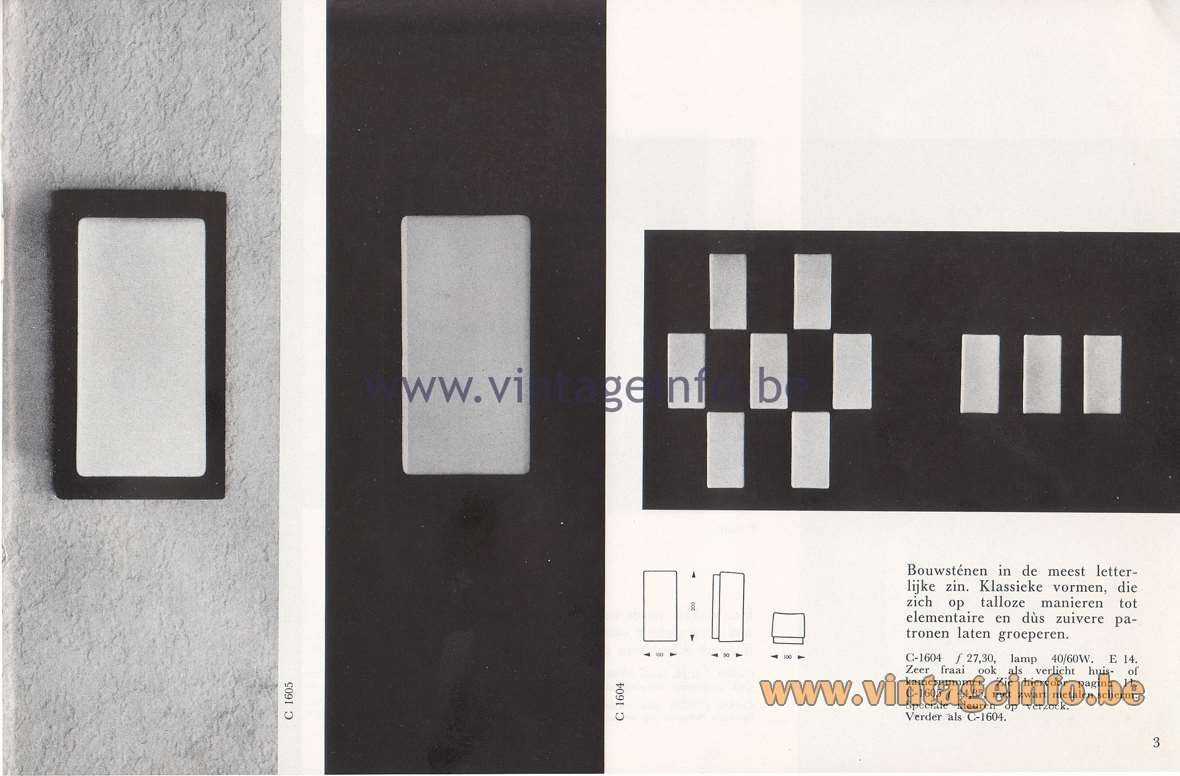 Raak Lichtarchitectuur - additional catalog nr 4 - Lichtbouwstenen C-1604, C-1605 wall lamps or flush mounts