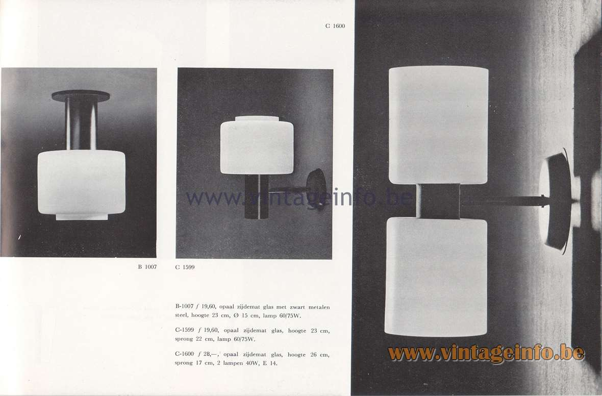 Raak Lichtarchitectuur - additional catalog nr 4 - Ceiling lamps & wall lamps B-1007, C-1599, C-1600