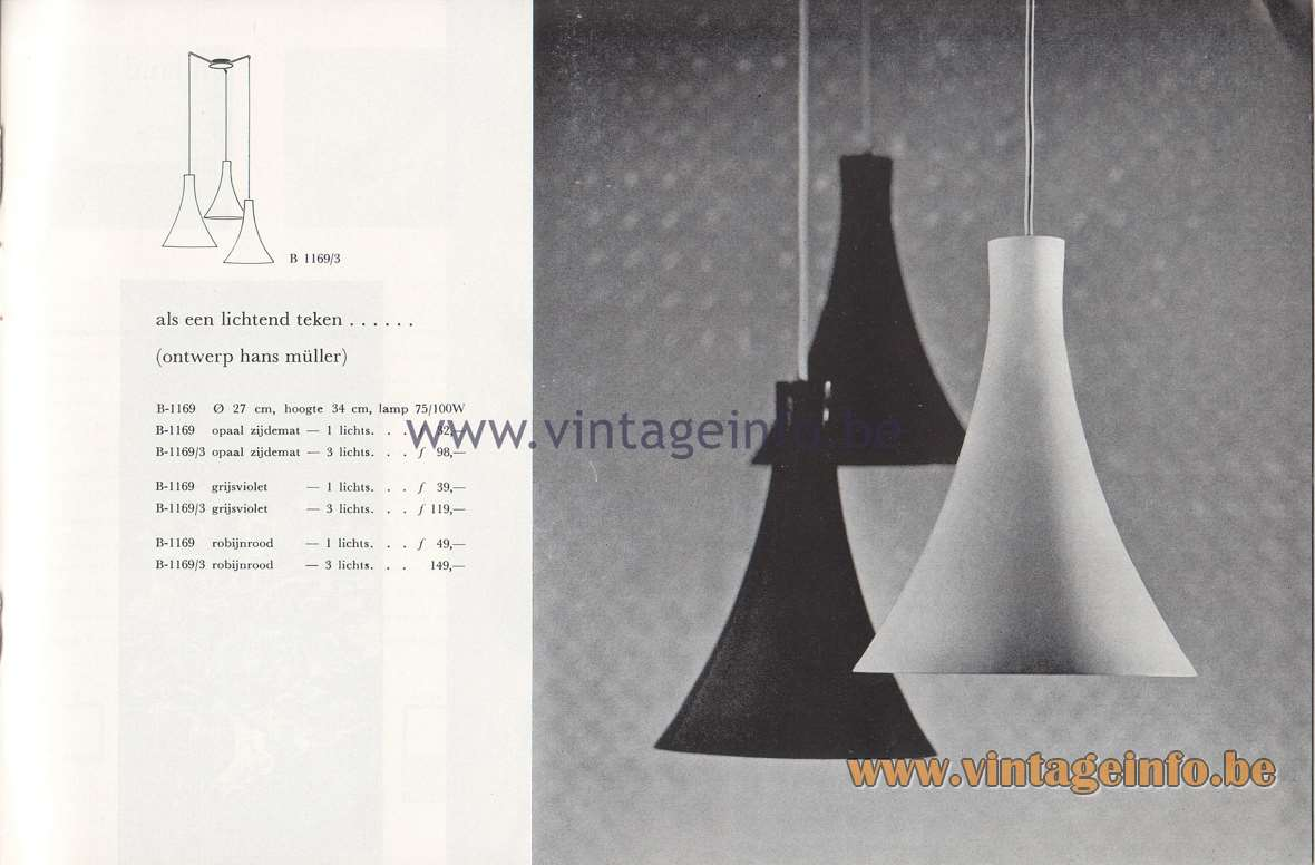 Raak Lichtarchitectuur - additional catalog nr 4 - B-1169 Pendant lamps - design Hans Müller