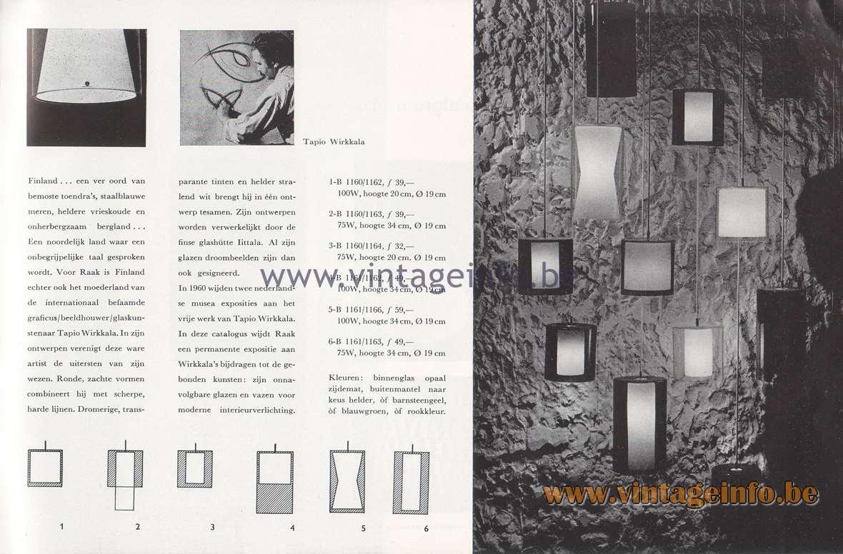 Raak Lichtarchitectuur - additional catalog nr 4 - Finland - Tapio Wirkkala lamps 1-B, 2-B, 3-B, 4-B, 5-B, 6-B