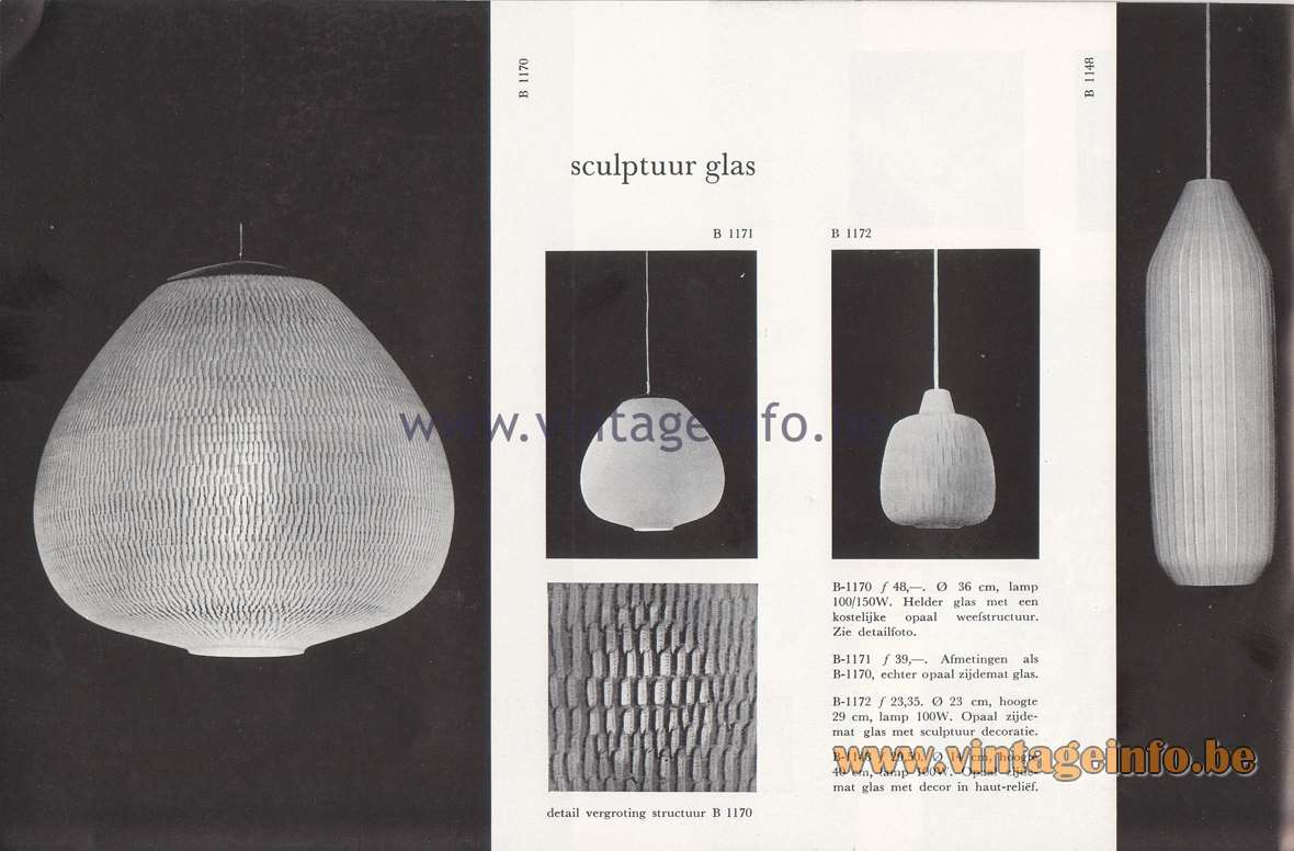 Raak Lichtarchitectuur - additional catalog nr 4 - Sculptuur glas - Sculpture glass - B-1170, B-1171, B-1172, B-1148 Pendant lamps