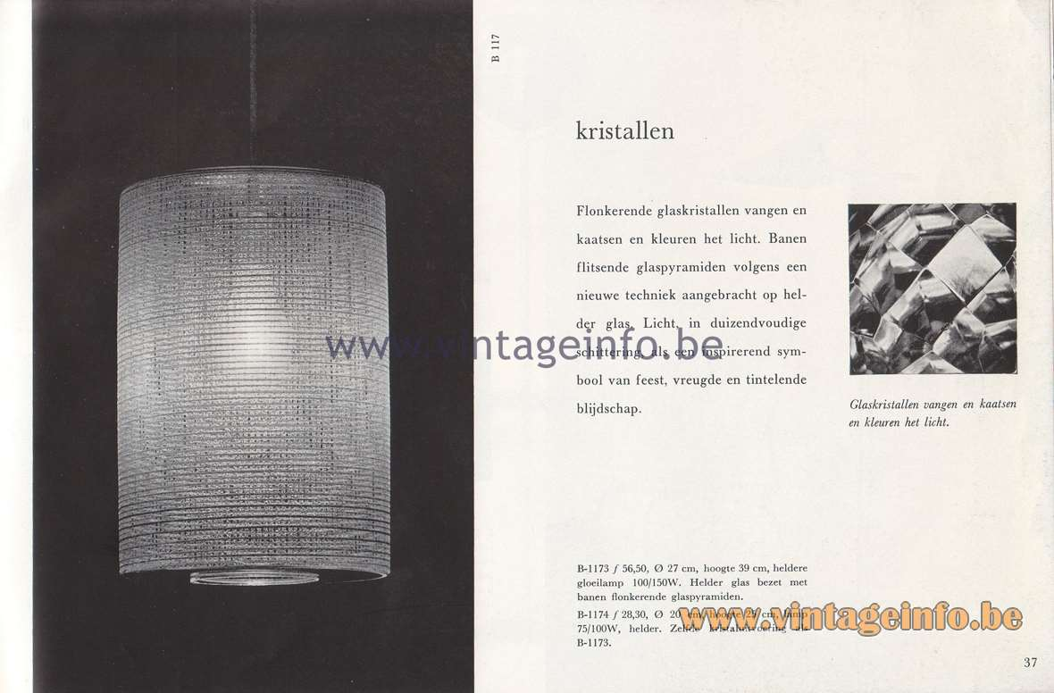 Raak Lichtarchitectuur - additional catalog nr 4 - Kristallen - Crystals - B-1173, B-1174 pendant lamps
