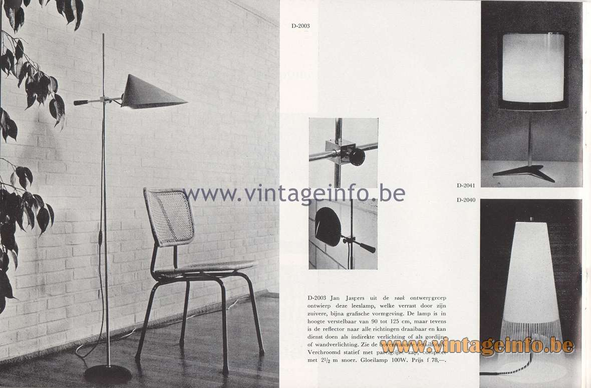 Raak Lichtarchitectuur - additional catalog nr 4 - D-2003 Floor lamp - Design Jan Jaspers. D-2041, D-2040 table lamps