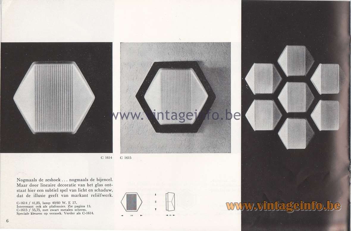 Raak Lichtarchitectuur - additional catalog nr 4 C-1614, C-1615 wall lamp or flush mount hexagon