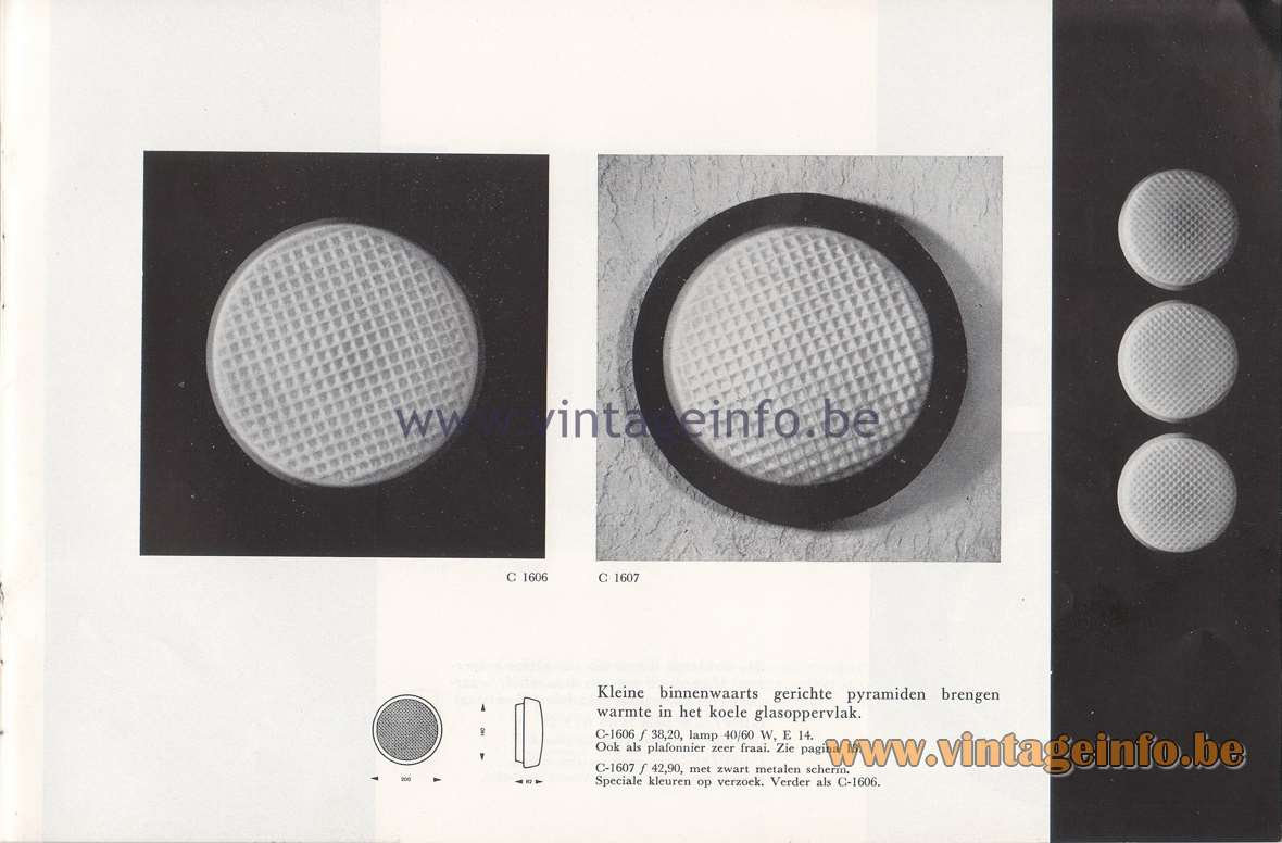 Raak Lichtarchitectuur - additional catalog nr 4 - C-1606, C-1607 wall lamp or flush mount