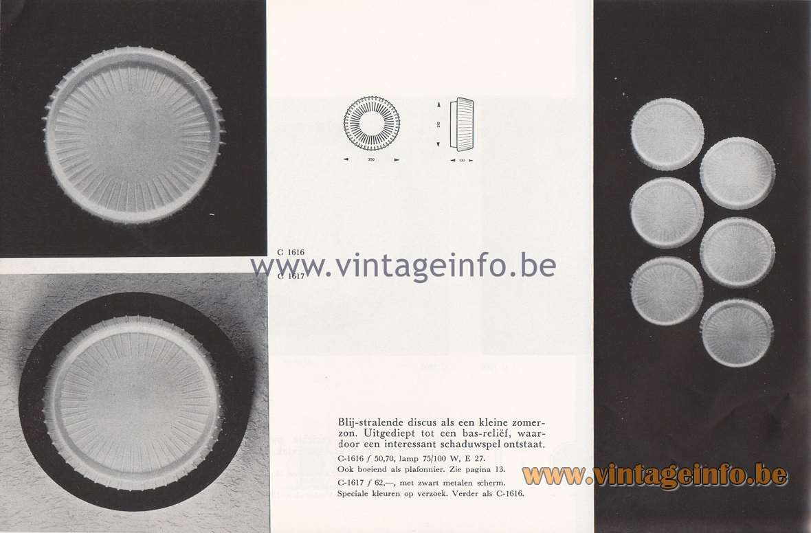 Raak Lichtarchitectuur - additional catalog nr 4 - C-1616, C-1617 wall lamp or flush mount
