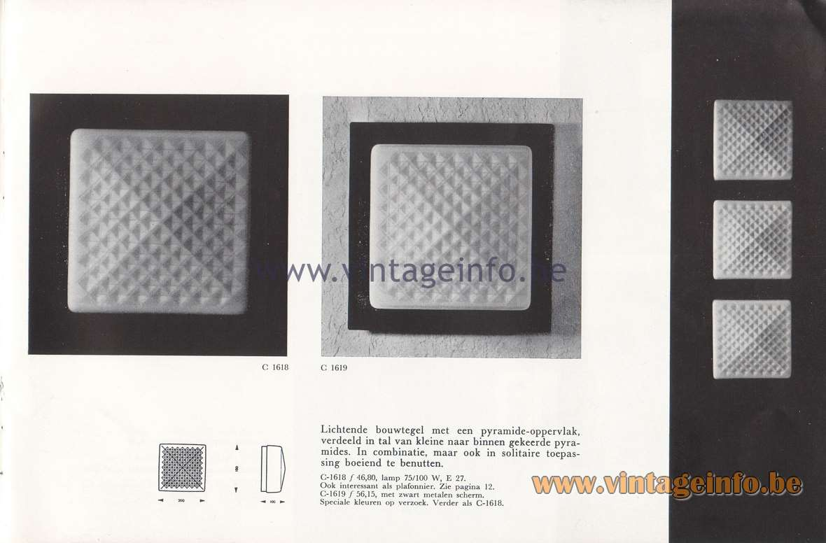 Raak Lichtarchitectuur - additional catalog nr 4 - C-1618 , C-1619 wall lamps, flush mounts