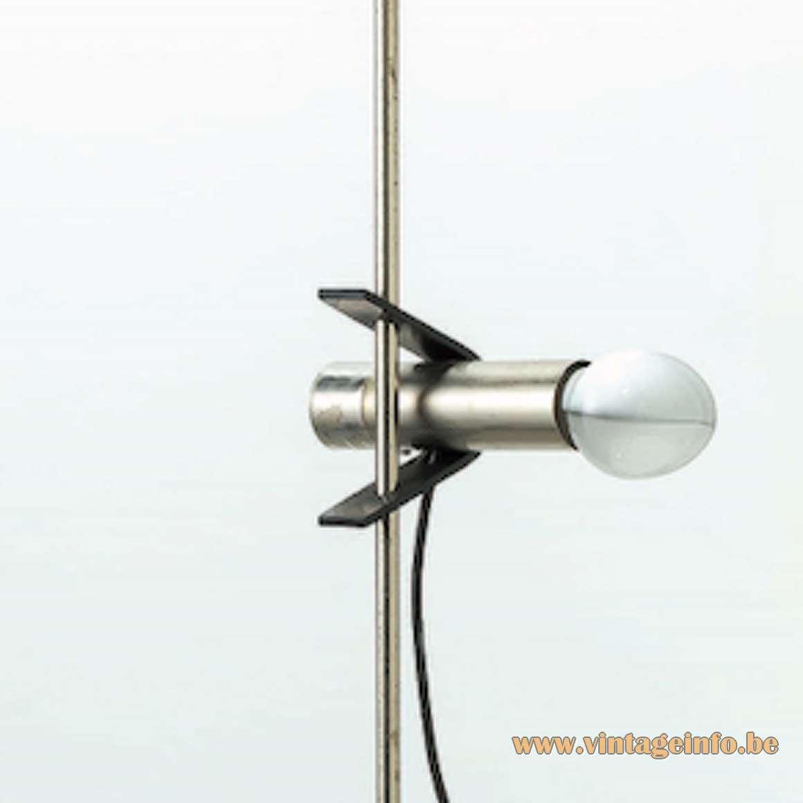 Renato Forti & Angelo Ostuni Oluce Floor Lamp 399 round base & rod 1 clamp light 1960s Italy MCM