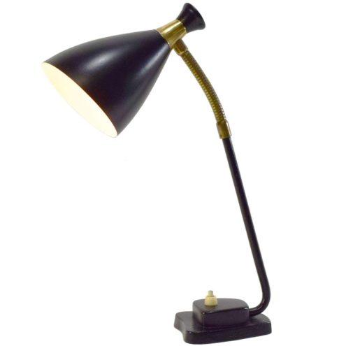 Solbergs Fabrikker 1950s desk lamp model 6003 black cast iron base & lampshade brass gooseneck rod Norway