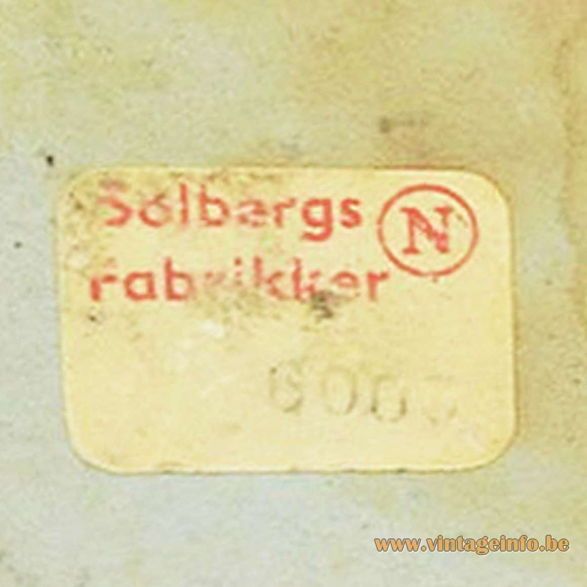 Solbergs Fabrikker 1950s Desk Lamp - label