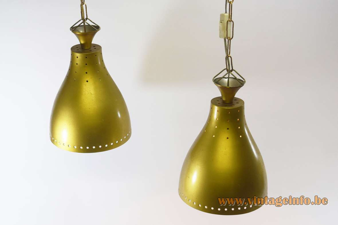 1950s billiard pendant lamps perforated gold lampshades chain 1960s Mid-Century Modern MCM round holes